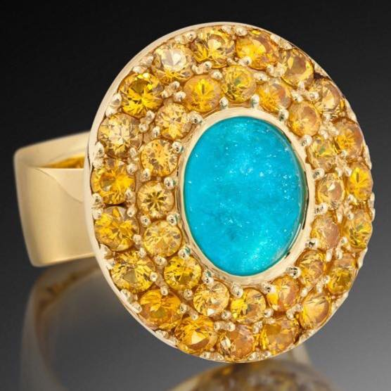 Yellow and Blue Diamonds ring.