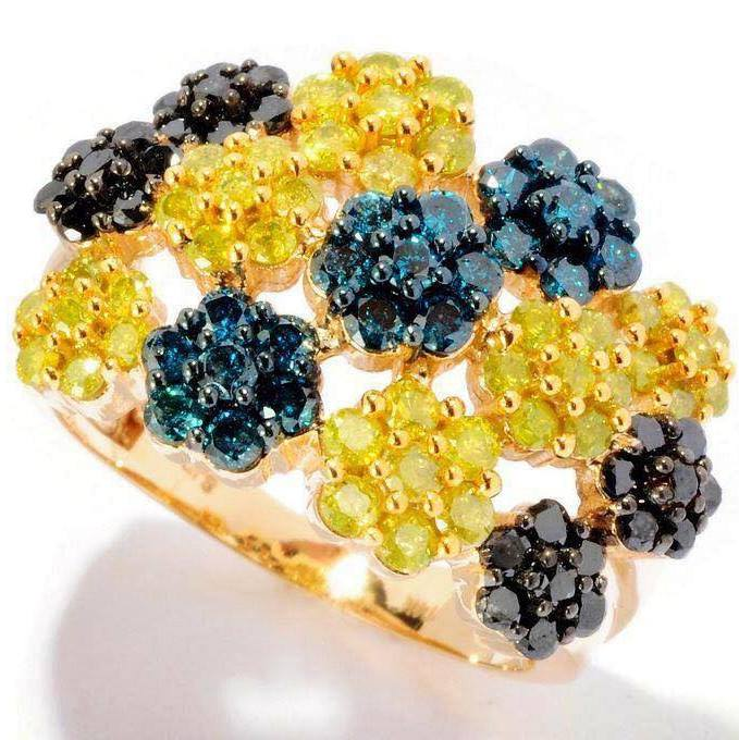 Blue and Yellow diamonds in very unique design ring.