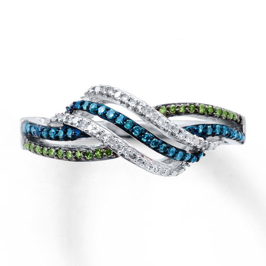 Blue and white diamonds in light ring