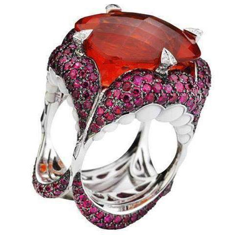 Red Diamond Ring with 4 side Ring