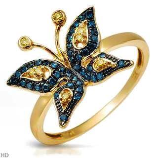 Butterfly shape on color diamond's ring